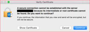 Outlook for Mac Certificate Error
